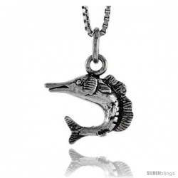 Sterling Silver Sailfish Pendant, 1/2 in tall