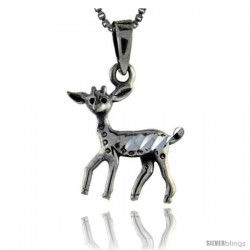 Sterling Silver Baby Deer Pendant, 1 1/8 in tall