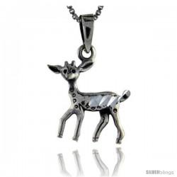 Sterling Silver Baby Deer Pendant, 1 1/8 in tall
