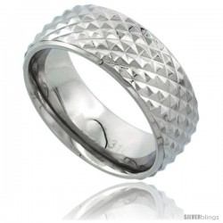 Surgical Steel Domed Wedding Band Ring Cross-Cut Teeth Pattern 8mm wide