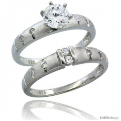 Sterling Silver Cubic Zirconia Ladies' Engagement Ring Set 2-Piece 1/2 ct size, 1/8 in wide