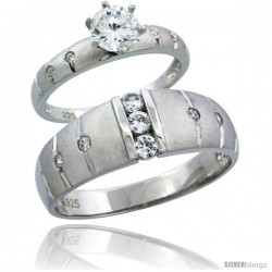 Sterling Silver Cubic Zirconia Engagement Rings Set for Him & Her 1/2 ct size Man's Wedding Band )