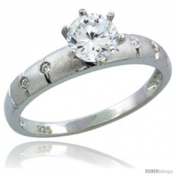 Sterling Silver Cubic Zirconia Solitaire Engagement Ring 1 ct size Brilliant cut, 1/8 in wide -Style Agcz610er