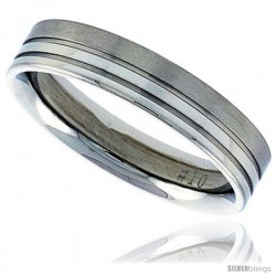 Surgical Steel 5mm Wedding Band Thumb Ring 2 Grooves combination finish Comfort-Fit