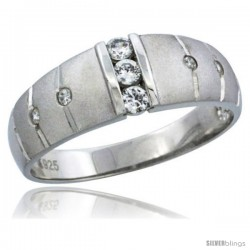 Sterling Silver Cubic Zirconia Mens Wedding Band Ring Classic Channel Set, 9/32 in wide