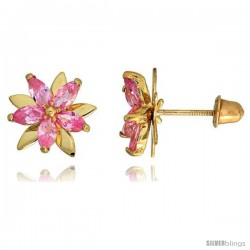 """14k Yellow Gold 3/8"""" (9mm) tall Flower Stud Earrings, w/ Marquise Cut Pink Sapphire-colored CZ Stones"""