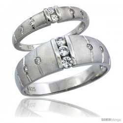 Sterling Silver Cubic Zirconia Wedding Band Ring 2-Piece Set 7.5 mm Him & Hers 3.5 mm Channel Set