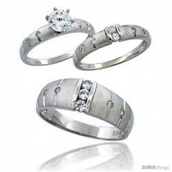 Sterling Silver Cubic Zirconia Trio Engagement Wedding Ring Set for Him & Her 7.5 mm Channel Set, L 5 - 10 & M 8 - 14