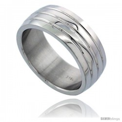 Surgical Steel Domed 8mm Wedding Band Ring 3 Grooves High Polish