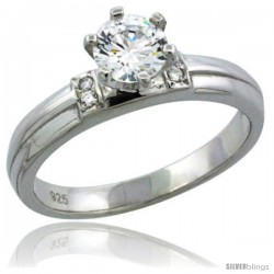 Sterling Silver Cubic Zirconia Solitaire Engagement Ring 1 ct size Brilliant cut, 1/8 in wide -Style Agcz611er