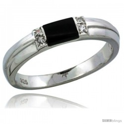 Sterling Silver Cubic Zirconia Ladies' Wedding Band Ring Black Onyx, 1/8 in wide