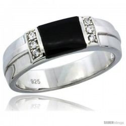 Sterling Silver Cubic Zirconia Mens Wedding Band Ring Black Onyx, 1/4 in wide