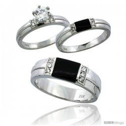Sterling Silver Cubic Zirconia Trio Engagement Wedding Ring Set for Him & Her 6.5 mm Black Onyx, L 5 - 10 & M 8 - 14
