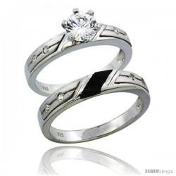 Sterling Silver Cubic Zirconia Ladies' Engagement Ring Set 2-Piece 3/4 ct size 1/8 in wide