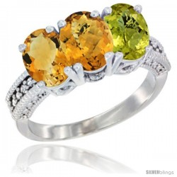 14K White Gold Natural Citrine, Whisky Quartz & Lemon Quartz Ring 3-Stone 7x5 mm Oval Diamond Accent