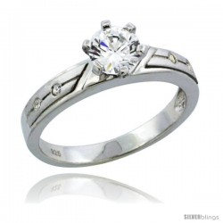 Sterling Silver Cubic Zirconia Solitaire Engagement Ring 1 ct size Brilliant cut, 1/8 in wide -Style Agcz612er