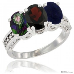 14K White Gold Natural Mystic Topaz, Garnet & Lapis Ring 3-Stone 7x5 mm Oval Diamond Accent