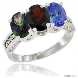 14K White Gold Natural Mystic Topaz, Garnet & Tanzanite Ring 3-Stone 7x5 mm Oval Diamond Accent