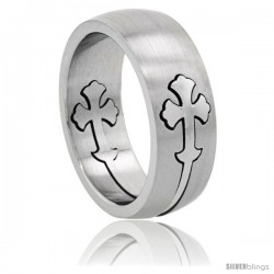 Surgical Steel Gothic Cross Ring 8mm Domed Wedding Band