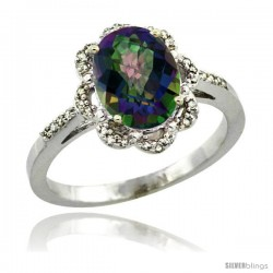 14k White Gold Diamond Halo Mystic Topaz Ring 1.65 Carat Oval Shape 9X7 mm, 7/16 in (11mm) wide