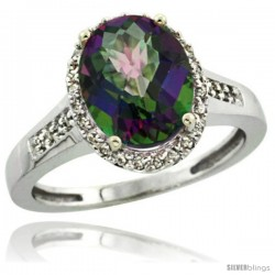 14k White Gold Diamond Mystic Topaz Ring 2.4 ct Oval Stone 10x8 mm, 1/2 in wide