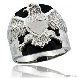 Sterling Silver Men's Black Onyx American Eagle Ring CZ Stones, 5/8 in (16 mm) wide