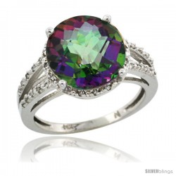 14k White Gold Diamond Mystic Topaz Ring 5.25 ct Round Shape 11 mm, 1/2 in wide