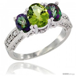 14k White Gold Ladies Oval Natural Peridot 3-Stone Ring with Mystic Topaz Sides Diamond Accent