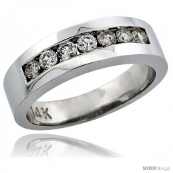 14k White Gold 7-Stone Ladies' Diamond Ring Band w/ 0.32 Carat Brilliant Cut Diamonds, 7/32 in. (5.5mm) wide