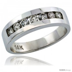 14k White Gold 7-Stone Men's Diamond Ring Band w/ 0.64 Carat Brilliant Cut Diamonds, 1/4 in. (6.5mm) wide
