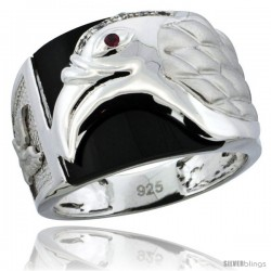 Sterling Silver Men's Black Onyx American Eagle Ring CZ Stones, 5/8 in (16 mm) wide -Style Rcz835