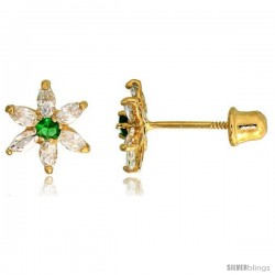 "14k Yellow Gold 5/16"" (8mm) tall Flower Stud Earrings, w/ Marquise Cut Clear & Brilliant Cut Emerald-colored CZ Stones"