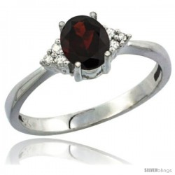10K White Gold Natural Garnet Ring Oval 7x5 Stone Diamond Accent