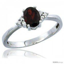 10K White Gold Natural Garnet Ring Oval 6x4 Stone Diamond Accent