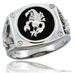 Sterling Silver Men's Black Onyx Scorpion Ring Screw Accents & American Eagle on Sides, 5/8 in (16 mm) wide