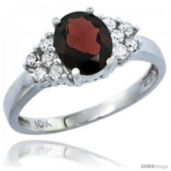 10K White Gold Natural Garnet Ring Oval 8x6 Stone Diamond Accent