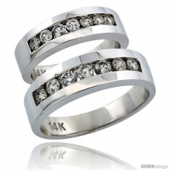 14k White Gold 2-Piece His (6.5mm) & Hers (5.5mm) Diamond Wedding Ring Band Set w/ 0.96 Carat Brilliant Cut Diamonds