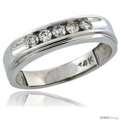 14k White Gold 5-Stone Men's Diamond Ring Band w/ 0.46 Carat Brilliant Cut Diamonds, 1/4 in. (6mm) wide