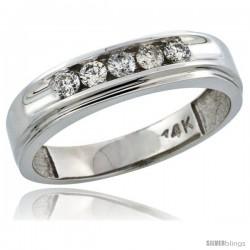 14k White Gold 5-Stone Men's Diamond Ring Band w/ 0.46 Carat Brilliant Cut Diamonds, 1/4 in. (6mm) wide