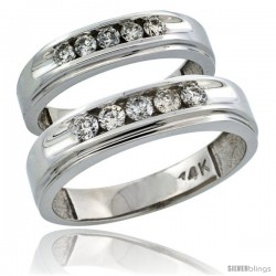 14k White Gold 2-Piece His (6mm) & Hers (5mm) Diamond Wedding Ring Band Set w/ 0.67 Carat Brilliant Cut Diamonds