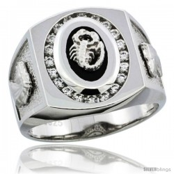 Sterling Silver Men's Black Onyx Scorpion Ring CZ Stones & Horse Head on Sides, 3/4 in (17 mm) wide