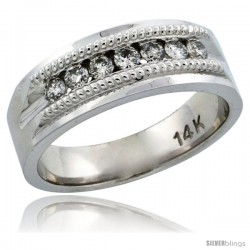 14k White Gold 7-Stone Milgrain Design Ladies' Diamond Ring Band w/ 0.22 Carat Brilliant Cut Diamonds, 1/4 in. (6.5mm) wide