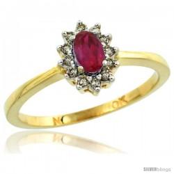 14k Gold ( 5x3 mm ) Halo Engagement Created Ruby Ring w/ 0.12 Carat Brilliant Cut Diamonds & 0.20 Carat Oval Cut Stone, 5/16