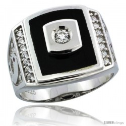 Sterling Silver Men's Black Onyx Ring CZ Stones & Dolphins on Sides, 3/4 in (17 mm) wide