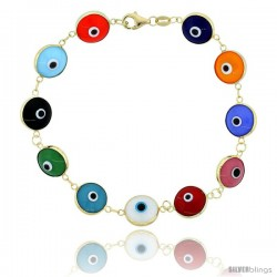 14k Gold Multi Color Evil Eye 7 in. Bracelet