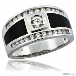 Sterling Silver Men's Black Onyx Solitaire Ring CZ Stones, 1/2 in (11.5 mm) wide