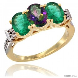 10K Yellow Gold Natural Mystic Topaz & Emerald Sides Ring 3-Stone Oval 7x5 mm Diamond Accent