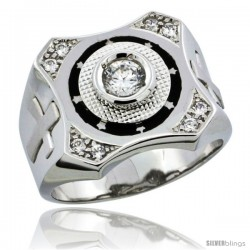 Sterling Silver Men's CZ Ring Star Accents & Cross on Sides, 5/8 in (16 mm) wide