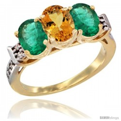 10K Yellow Gold Natural Citrine & Emerald Sides Ring 3-Stone Oval 7x5 mm Diamond Accent