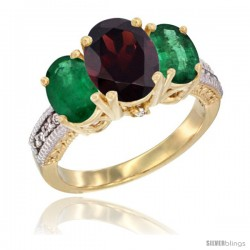 10K Yellow Gold Ladies 3-Stone Oval Natural Garnet Ring with Emerald Sides Diamond Accent